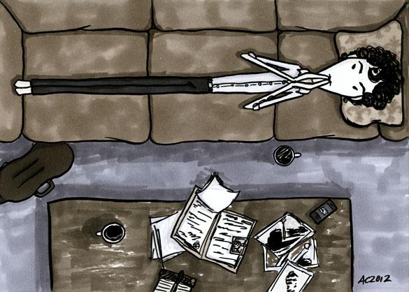 Thinking in Grey, Sherlock fan art by Amy Crook