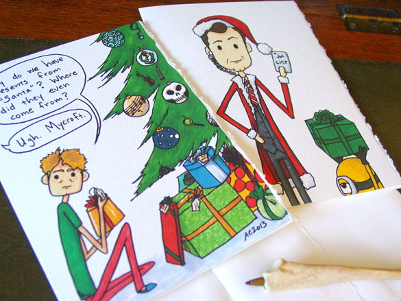 two Sherlock holiday cards and a spooky pen made of bone