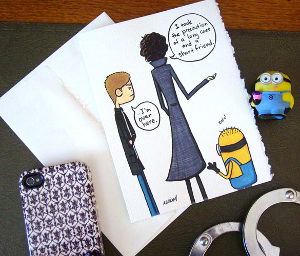 Short Friend, a Sherlock/Despicable Me card on Etsy by Amy Crook