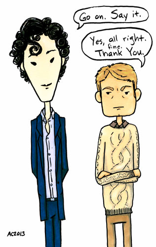 Say Thanks, John, parody Sherlock comic by Amy Crook