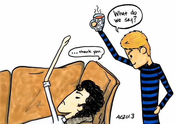 What Do We Say? Sherlock parody art by Amy Crook