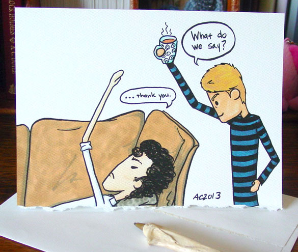 Sherlock Thank You card by Amy Crook, available on Etsy