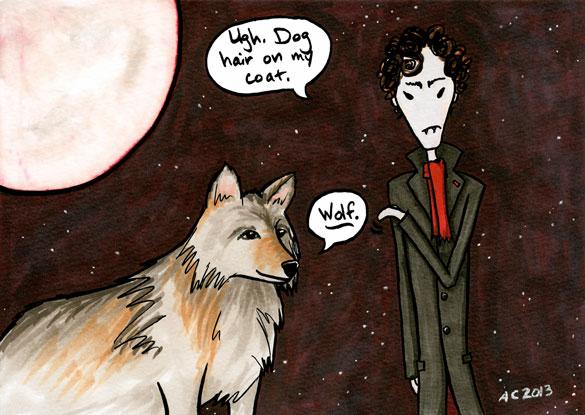 Alternate Universes: Vampire/Werewolf, parody Sherlock comic by Amy Crook