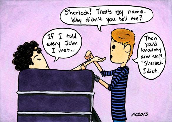 Alternate Universes: Soulmates, parody Sherlock comic by Amy Crook
