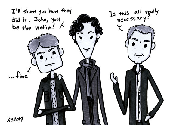 Who's the Boss? a Sherlock comic, panel 1 by Amy Crook