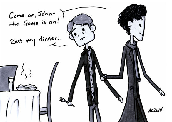 Who's the Boss? a Sherlock comic, panel 2 by Amy Crook
