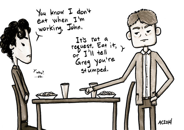 Who's the Boss? a Sherlock comic, panel 4 by Amy Crook