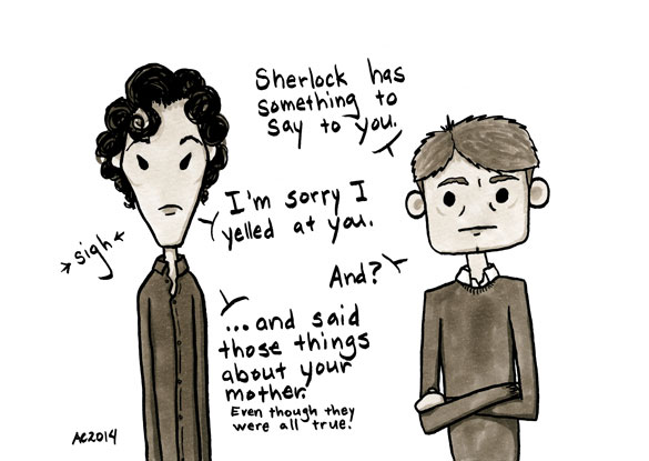 Who's the Boss? a Sherlock comic, panel 5 by Amy Crook