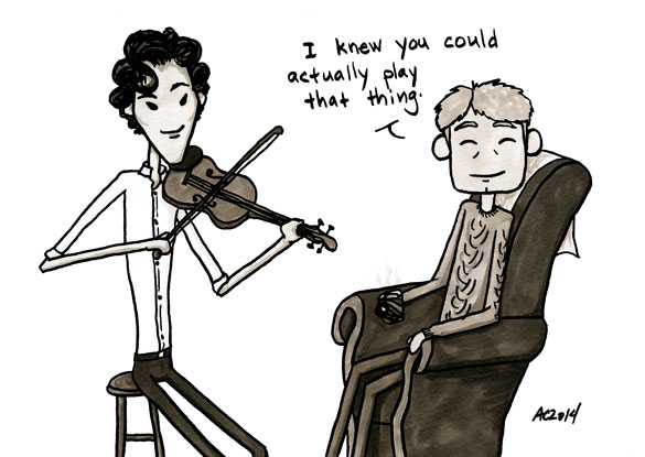 Who's the Boss? a Sherlock comic, panel 6 by Amy Crook