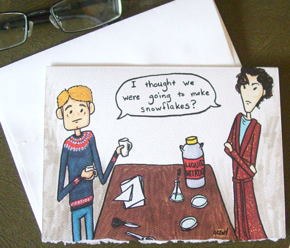 Snowflakes Sherlock holiday card by Amy Crook on Etsy