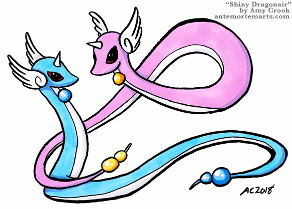 a shiny pink Dragonair flying about a normal blue Dragonair, Pokemon fan art by Amy Crook