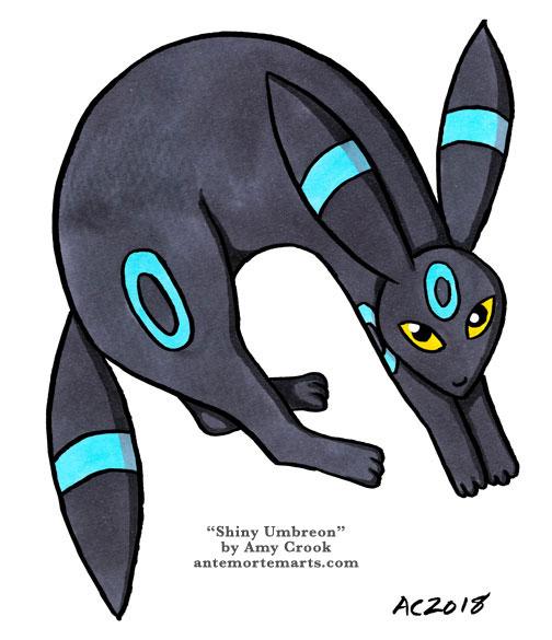 Shiny Umbreon, Pokemon fan art by Amy Crook