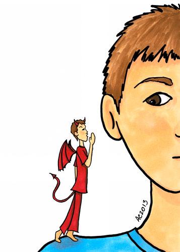 Shoulder Devil cartoon by Amy Crook