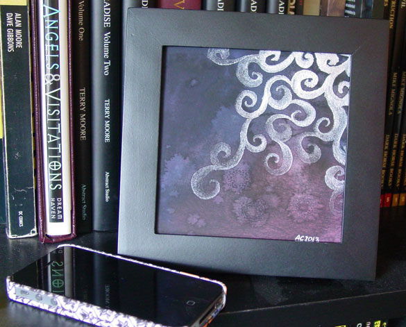 Silver Filigree, framed art by Amy Crook