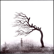 six crows, a bare tree, and a figure in the fog, art by Amy Crook