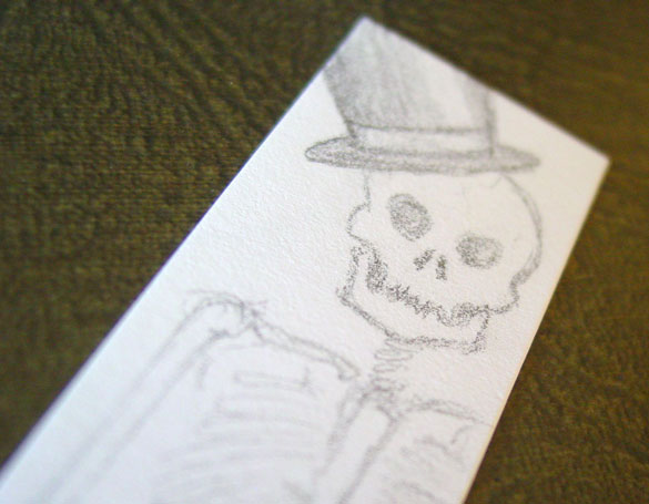 Skeleton Bookmark, detail, by Amy Crook