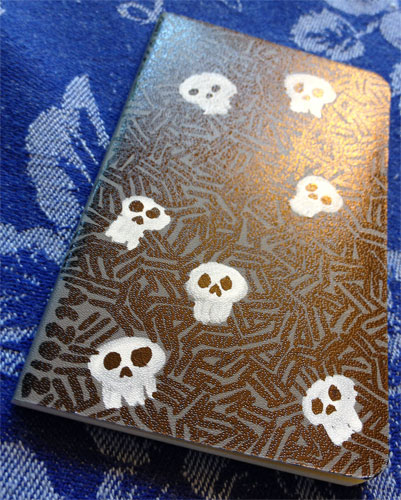 Skully Mini Volant customized Moleskine by Amy Crook