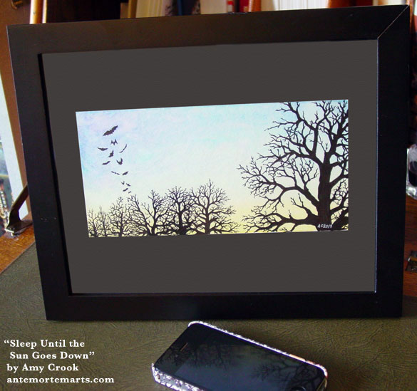 Sleep Until the Sun Goes Down, framed art by Amy Crook