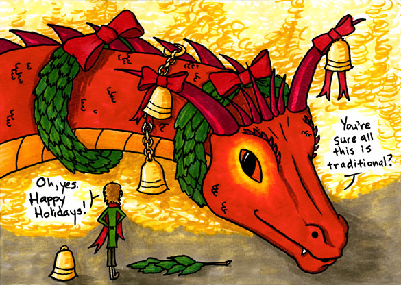 Deck the Smaug, holiday fan art by Amy Crook
