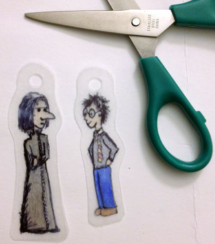 Snape and Harry Shrinky Dinks, before, by Amy Crook
