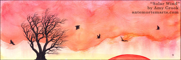 Solar Wind by Amy Crook, a watercolor painting of crows and a windblown tree at sunset