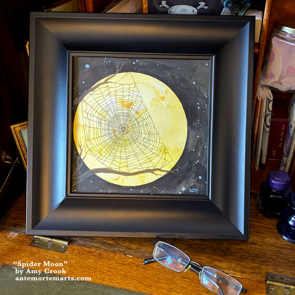 Spider Moon, framed art by Amy Crook