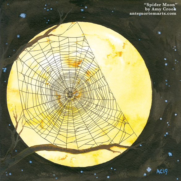 an ink and watercolor painting of a spiderweb stretched between two tree branches, silhouetted against a golden harvest moon, by Amy Crook