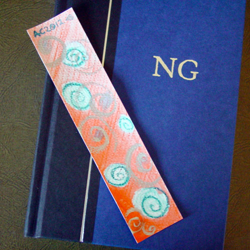 Spiral Bookmark 1, with book, by Amy Crook
