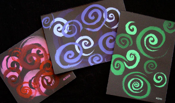Spirals Trio, three watercolor abstracts by Amy Crook