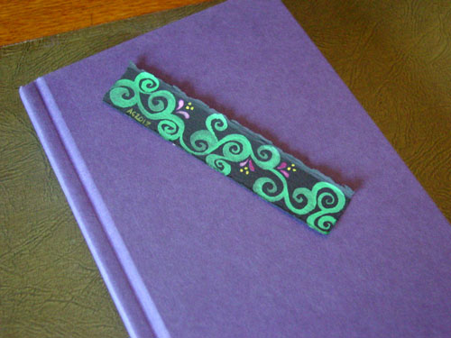 Spiral Vines Bookmark, with book, by Amy Crook