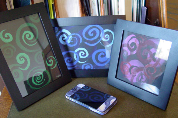 Spirals Trio, framed art by Amy Crook