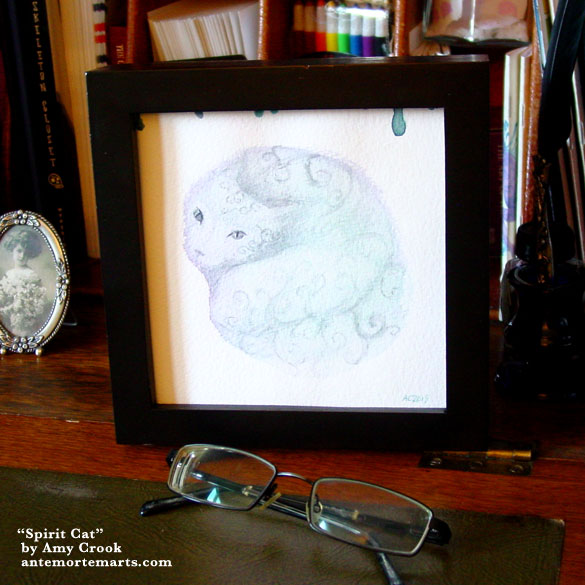 Spirit Cat, framed art by Amy Crook