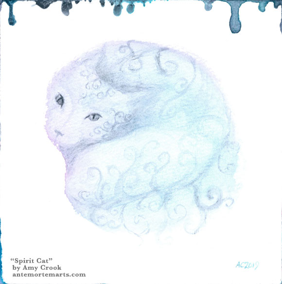 Spirit Cat by Amy Crook, a translucent blue watercolor cat with spiral markings