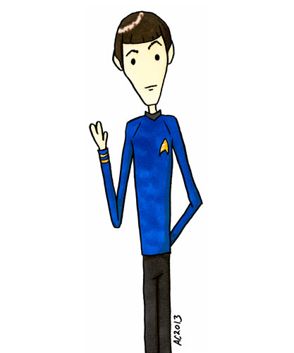 Live Long and Prosper, Star Trek fan art by Amy Crook