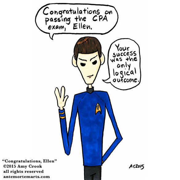 Congratulations, Ellen, a Spock commission by Amy Crook