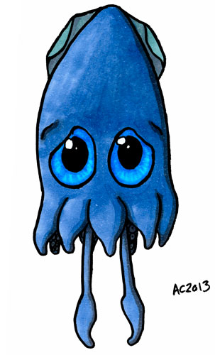 Sad and Sorry Squid cartoon by Amy Crook