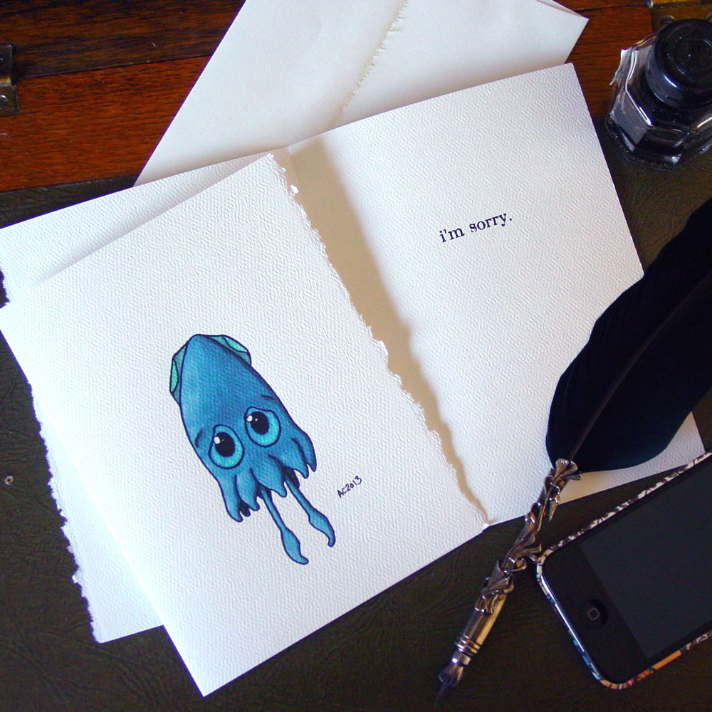 Squid Apology Card at Etsy by Amy Crook