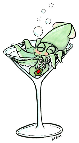 Squidtini, cartoon by Amy Crook