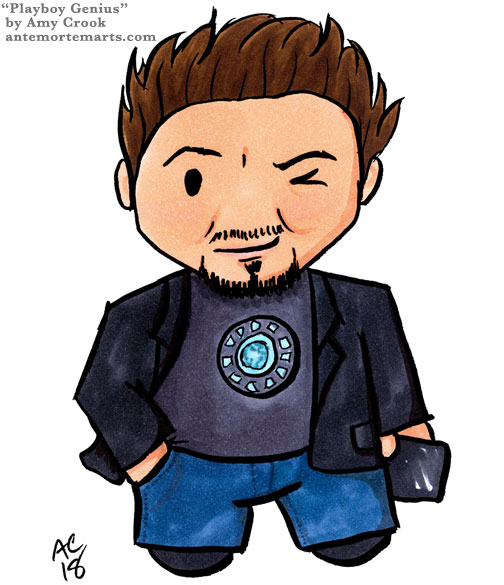 chibi fan art of Tony Stark by Amy Crook