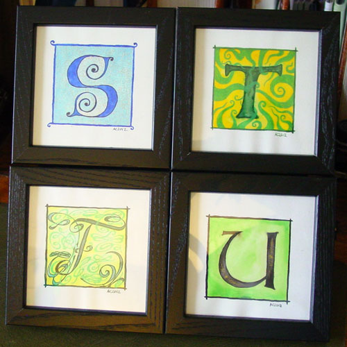S, T, F & U, illuminated letters by Amy Crook
