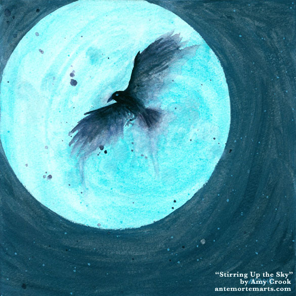 Stirring Up the Sky by Amy Crook, watercolor painting of a black crow against a shiny blue moon in a shiny dark blue sky