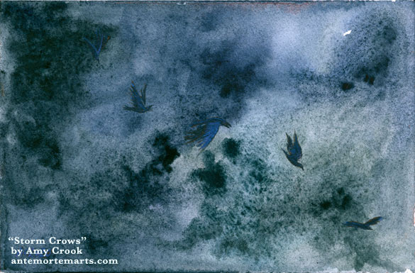 a watercolor painting of five black crows with shiny purple highlights against a dark roiling blue stormcloud, by Amy Crook