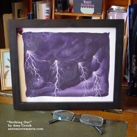 Striking Out, framed art by Amy Crook