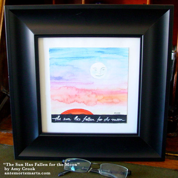 The Sun Has Fallen for the Moon, framed art by Amy Crook