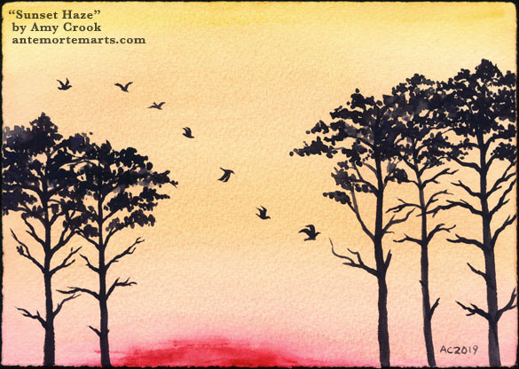 Sunset Haze by Amy Crook, a watercolor painting of trees and a flight of birds silhouetted against the sun