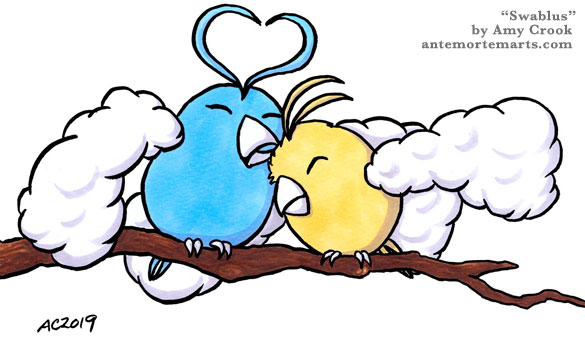 blue and gold Swablus cuddling on a branch, by Amy Crook