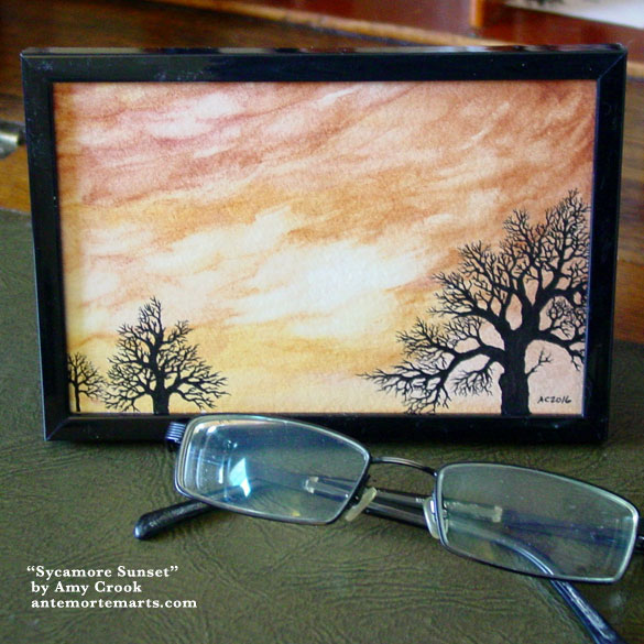 Sycamore Sunset, framed art by Amy Crook