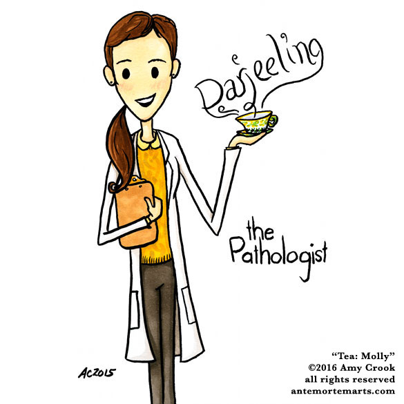 Tea: Molly Hooper, Sherlock parody art by Amy Crook