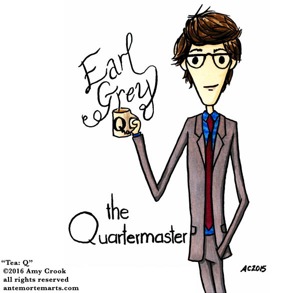 Tea: Q, commissioned fan art by Amy Crook