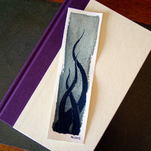 Tentacle Bookmark 2, with book, by Amy Crook